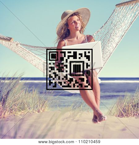 QR Code Price Tag Coding Encryption Label Merchandise Concept