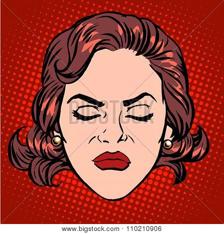 Retro Emoji anger rage woman face