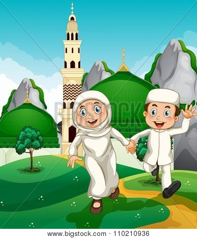 Muslim couple at the mosque illustration