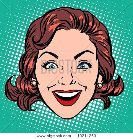 Retro Emoji smile joy woman face