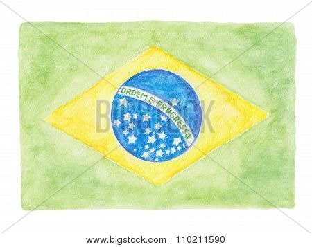 Brazil Flag Watercolor Pencils Painting
