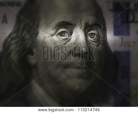 Ben Franklin's Face Close Up On A Bill Of U.s. $ 100
