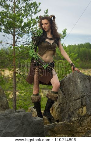 Pretty Female Faun In A Wood