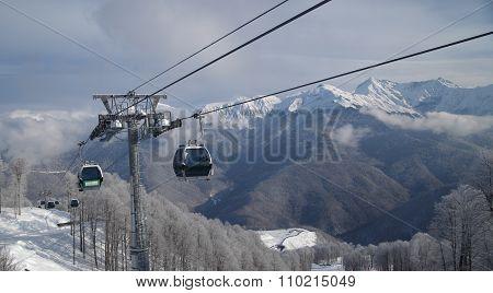 Gondola Lift Against Panoramic Vew Of Mountain Range