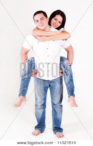 Love Boy holds a girl; Happy Family;