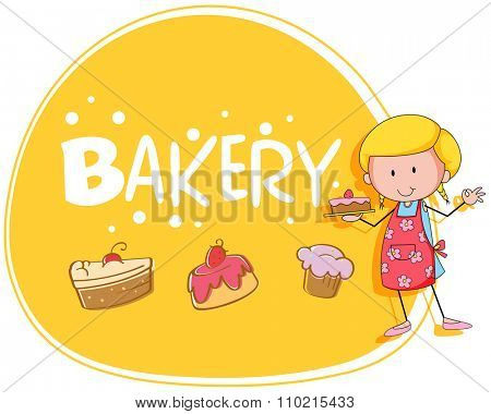 Bakery theme with baker and cake illustration