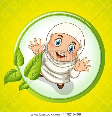 Muslim girl with happy face illustration
