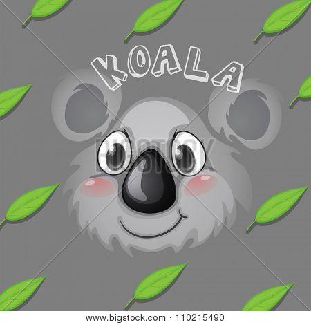 Koala face and gum leaves illustration