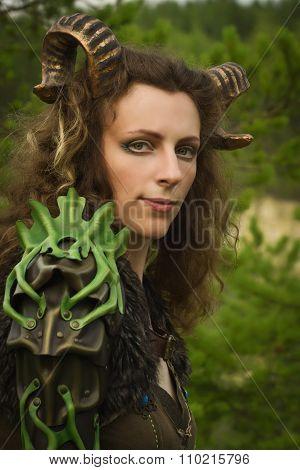 Portrait Of The Pretty Female Faun In A Wood