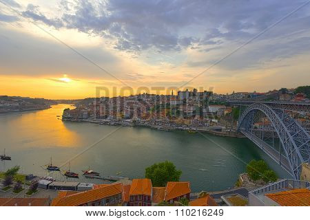 Porto And The Douro River At Sunset Time