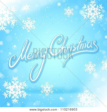 Blue Merry Christmas Card