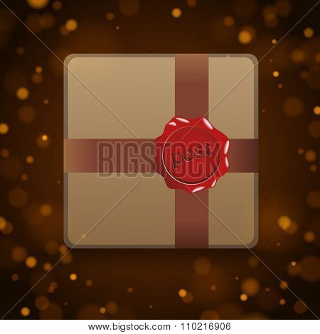 Brown package with red stamp