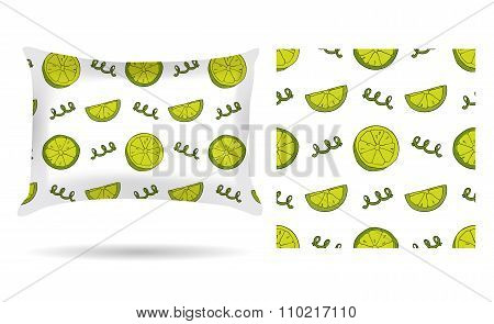 Decorative Pillow With Pillowcase Lemons In An Elegant, Gentle Style On A White Background. Isolated
