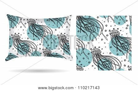 Decorative Pillow With Jellyfish Pillowcase In An Elegant, Gentle Style On A White Background. Isola