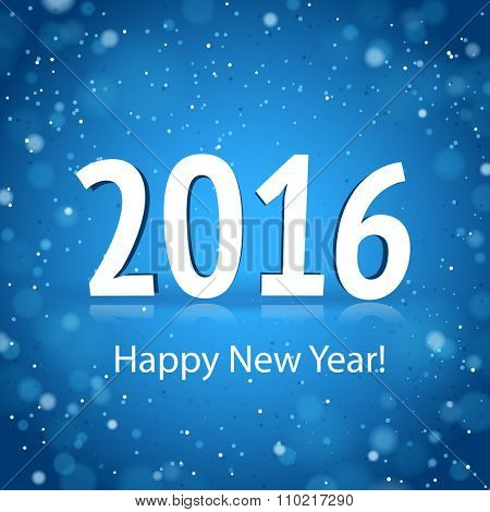 2016 Happy New Year card with blue brilliant background
