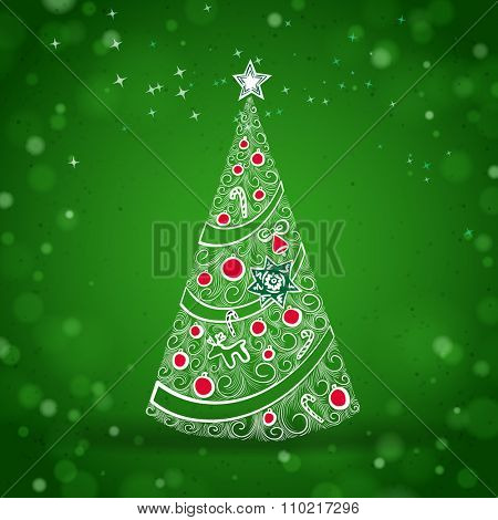 Vintage Christmas Tree Sketch on a Green Shiny Background with Lights