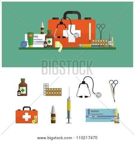 Health care medical flat banners. First aid icons set and design elements. Medical tools, drugs, sci