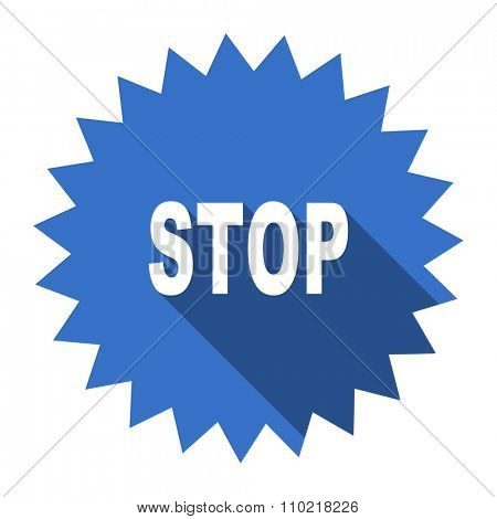 stop blue flat icon