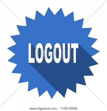 logout blue flat icon