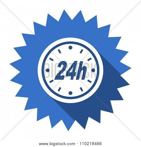 24h blue flat icon