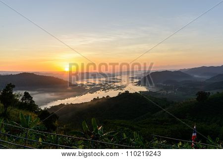 Beautiful View At Sunset At Phuhuayesan, Nong Khai Provience, Thailand
