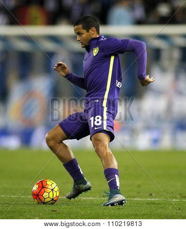 BARCELONA - NOV, 21: Roberto Rosales of Malaga CF during a Spanish League match against RCD Espanyol at the Power8 stadium on November 21 2015 in Barcelona Spain