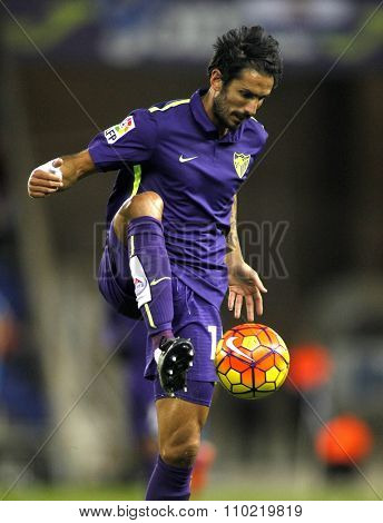 BARCELONA - NOV, 21: Marcos Angelieri of Malaga CF during a Spanish League match against RCD Espanyol at the Power8 stadium on November 21 2015 in Barcelona Spain