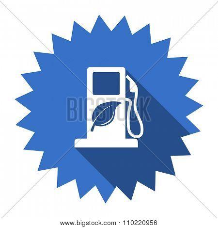 biofuel blue flat icon