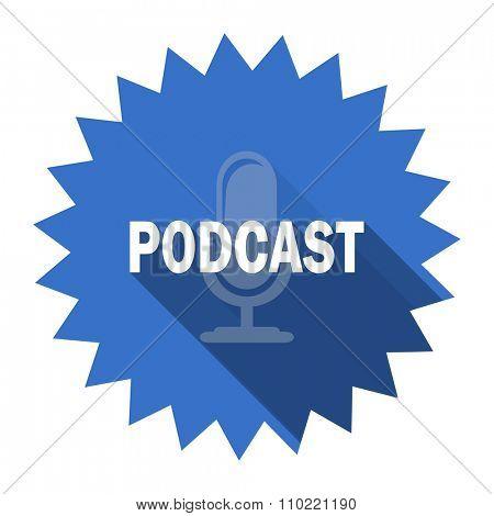 podcast blue flat icon