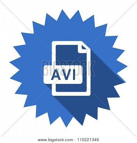 avi file blue flat icon