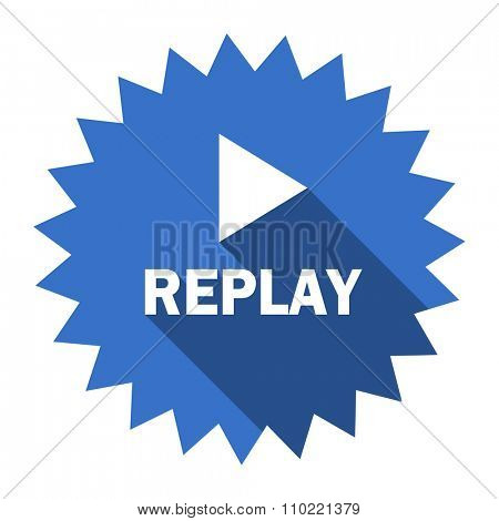 replay blue flat icon