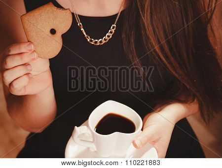 Woman With Cup Of Coffee And Cake