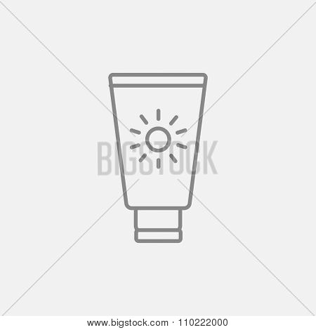 Sunscreen line icon for web, mobile and infographics. Vector dark grey icon isolated on light grey background.