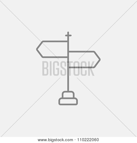Travel traffic sign line icon for web, mobile and infographics. Vector dark grey icon isolated on light grey background.
