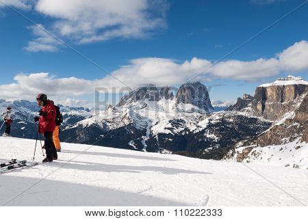 DOLOMITES ALPS, ITALY - FEBRUARY 16, 2015: Skiing area in the Dolomites Alps. Overlooking the Sella group in Val Gardena. Italy