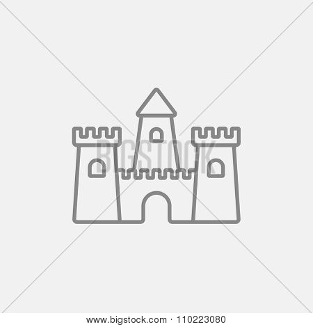 Sandcastle line icon for web, mobile and infographics. Vector dark grey icon isolated on light grey background.