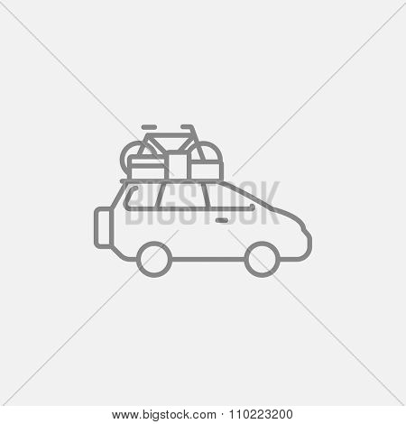 Car with bicycle mounted to the roof line icon for web, mobile and infographics. Vector dark grey icon isolated on light grey background.