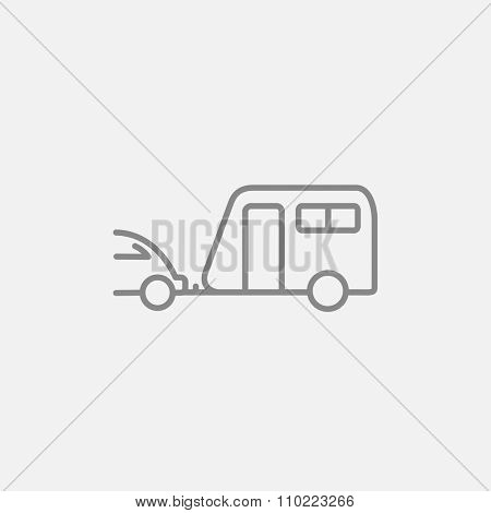 Car with caravan line icon for web, mobile and infographics. Vector dark grey icon isolated on light grey background.