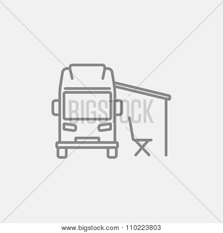 Motorhome with tent line icon for web, mobile and infographics. Vector dark grey icon isolated on light grey background.