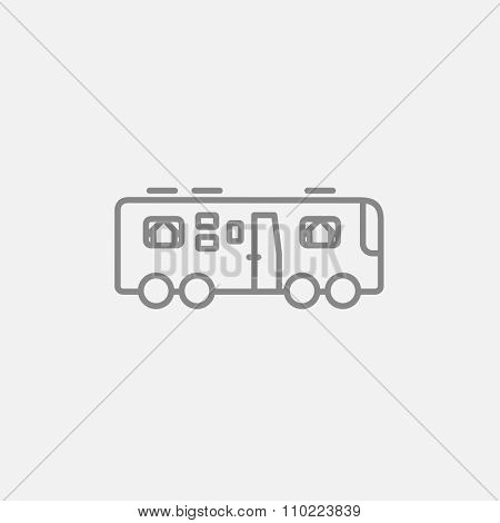 Motorhome line icon for web, mobile and infographics. Vector dark grey icon isolated on light grey background.