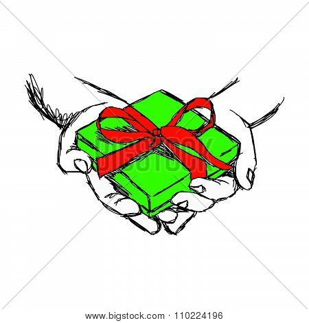 Illustration Vector Doodle Hand Drawn Of Sketch Hand Of Person Giving Or Receiving Green Gift Packag