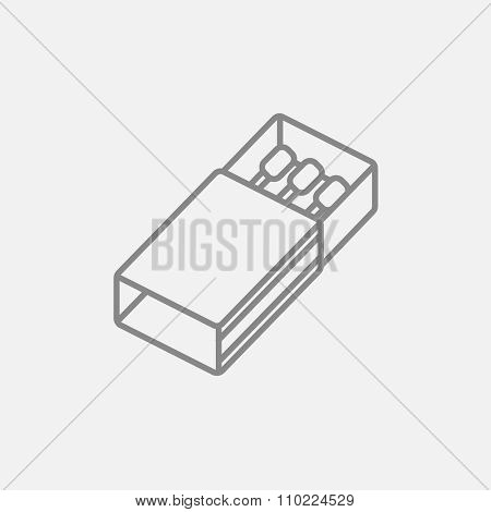 Matchbox line icon for web, mobile and infographics. Vector dark grey icon isolated on light grey background.