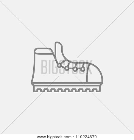 Hiking boot with crampons line icon for web, mobile and infographics. Vector dark grey icon isolated on light grey background.