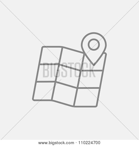 Map with pointer line icon for web, mobile and infographics. Vector dark grey icon isolated on light grey background.