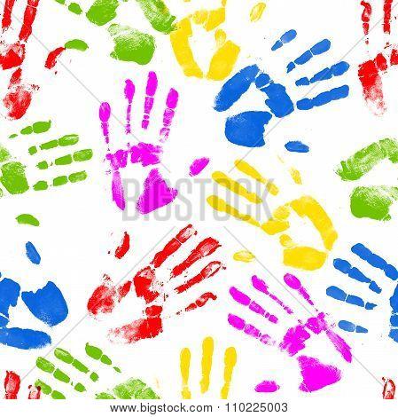 Seamless Hand Prints Background