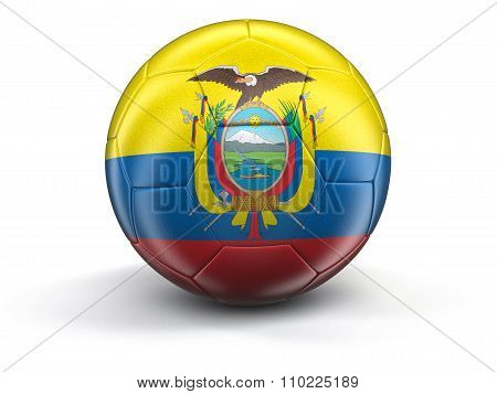 Soccer football with Ecuadorian flag