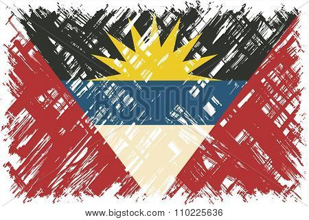 Antigua and Barbuda grunge flag. Vector illustration.