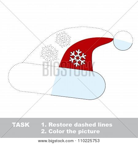 Christmas hat to be colored. Vector trace game.