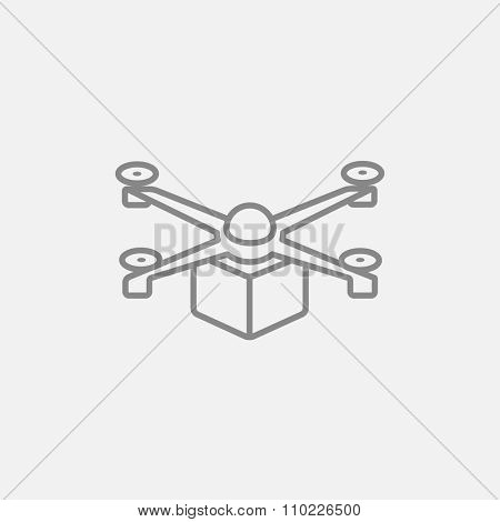 Drone delivering a package line icon for web, mobile and infographics. Vector dark grey icon isolated on light grey background.