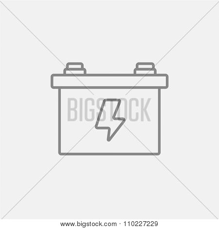 Car battery line icon for web, mobile and infographics. Vector dark grey icon isolated on light grey background.